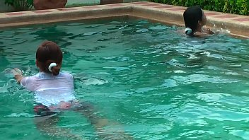 Thaiprincess have fun in the pool getting her y. cousins to show off their firm tits