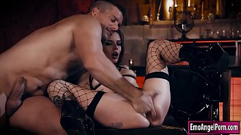 Small tits tattooed Vanessa Vega strips and kisses a bartender.He takes off her panties and sucks on her pussy lips.She deepthroats him and he fucks her until she squirts and lets her taste it