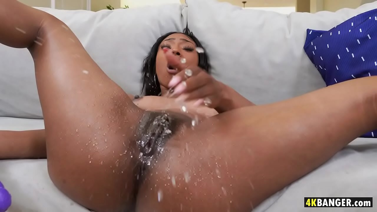 Black squirting hot chick Ebony solo