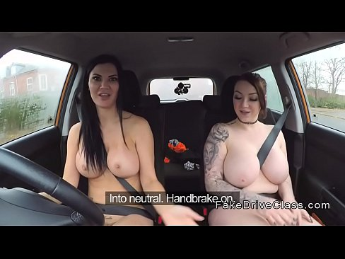 image Fake driving school busty black learner fails test with lesbian examiner