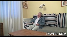 Youthful hottie licked by old man