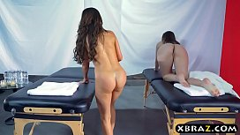 Two hot babes get a special massage treatment at a spa