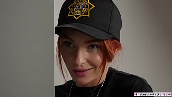 Blonde babe licked by perv lesbian redhead ladycop