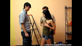 Double-fucked Sasha Rose by the painters