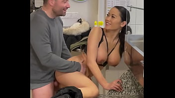 Asian brunette with big tits pays with her body
