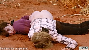 Blond girls gets filthy, rough anal in the wilderness while another is used as a stool smooshed beneath her