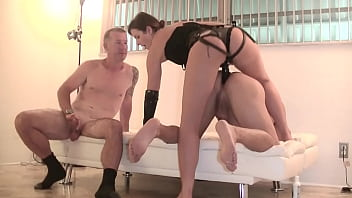 My Cuckold Hubby 7 - I make him watch me pegging a slave as part of his anal cuckold training! lol!
