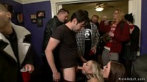 Huge tits blonde hottie is dragged in public concert and there made by dom Gia DiMarco anal fuck in interracial gangbang and lezdom Thumbnail