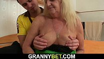 Hairy granny in stockings rides cock