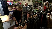 Big tits and round ass slave Serena Ali with tied wrists dragged in public shop by masters Mr Pete and Mickey Mod and there disgraced and fucked Thumbnail