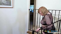 Mature lady and her toy masturbation on the stairs