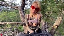 Sexy Blonde Deep Sucking Dick Lover on a Tree B...