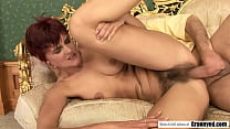 Redhead mature swallows the dick like no one