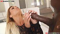 blonde college girl tries to handle a black cock