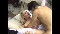 Curly haired blonde slut in whote stockings get...
