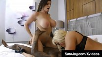 Hot Mature Milfs, Sara Jay & Alexis Golden, spread their older lady pussies for big black cock, Rome Major, sharing his big dark dick & white sticking milk! Full Video & Sara Live @