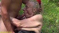 extreme ugly big belly 86 years old grandma get...