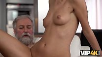 VIP4K. White-haired daddy drills tender smooth ...