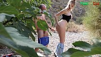 Fucking outdoors with a stranger watching - Pao...