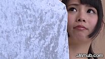 Nervous JAV girl poses nude before she gets fuc...