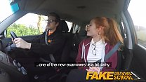 Fake Driving School Cute redhead Ella Hughes fucks and eats instructors cum Thumbnail