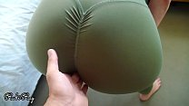 Fit babe makes him Cum in her gym pants and pul...