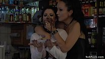 Mistress Fetish Liza in black leather mini skirt canes ass to busty Euro brunette slave Lucia Love then in bar disgraces her and makes fuck Thumbnail