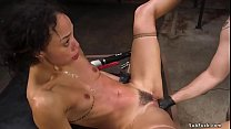 Hot ebony slave Alexis Tae is tied over table b...