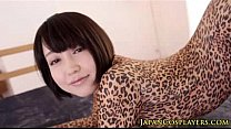 Flexible asian cosplay babe in leopard bodysuit creampied's Thumb