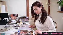 Watch Busty hairy brunette plays with dildo at home preview