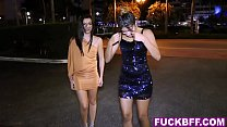 Three teens getting ready for a party with a bi...