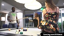 PAWG Milf Sara Jay & Nicky Ferrari suck & fuck a bearded big black cock to get their nice white pussies stuffed in this hot interracial threesome!