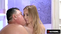 Petite Blondie Guzzles Old Man's Cock After A S...