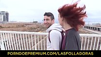 LAS FOLLADORAS - Sexy redhead_gets fucked and facialized by_lucky guy Thumbnail