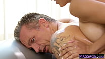 Sexy babe massage and rode guys cock