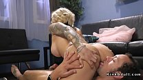 Watch Blonde shemale Ts Foxxy in see through lingerie welcomed pizza delivery guy and made him suck her cock preview