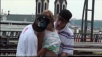 Watch A hot teen girl Alexis Crystal public sex gang bang threesome at a train station preview