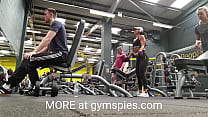 Gorgeous model teen working arms in the gym wit...