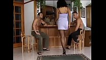 Black beauty dances striptease in a bar and the...