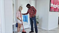 Blonde teen housekeeper rides owners bbc