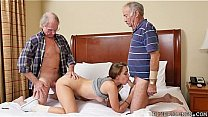 Young Girl double teamed by Old Dicks