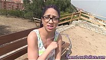 Teen in glasses swallows cum after fuck and suc...