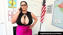 Huge Boobed Cuban Ms Angelina Castro & Big Butt Principal Sara Jay spank their naughty student Gia Love & have their way with her for not turning in her homework! Gia should be punished & eating out her teacher's older pussies is just the