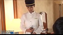 Jav maid in pantyhose gives pleasure to her boss