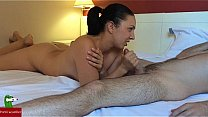 She jerks him until he eats all his ejaculation's Thumb