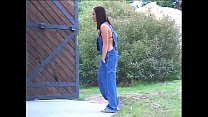 Brunette gets anal drilling at outdoor