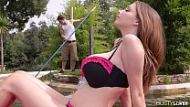 Busty lovers wanna bang top-heavy Lucie Wilde's enormous knockers by the pool's Thumb