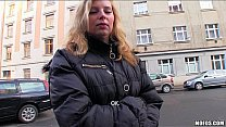 Shy blonde Czech girl agrees to take cash for a public suck & fuck's Thumb