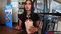 Pretty Thai teen on a date gets fucked doggysty...