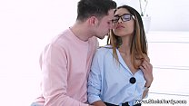 She Is Nerdy - She even lets him fuck her in th...